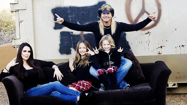 Bret Michaels appears with Kristi Gibson and their daughters Raine and Jorja in a promotional photo for Bret Michaels: Life As I Know It. - Provided courtesy of VH1