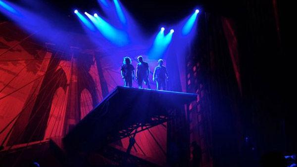 Technicians atop teh Brooklyn Bridge during rehearsal for 'Spider-Man: Turn off the Dark', the Broadway musical.