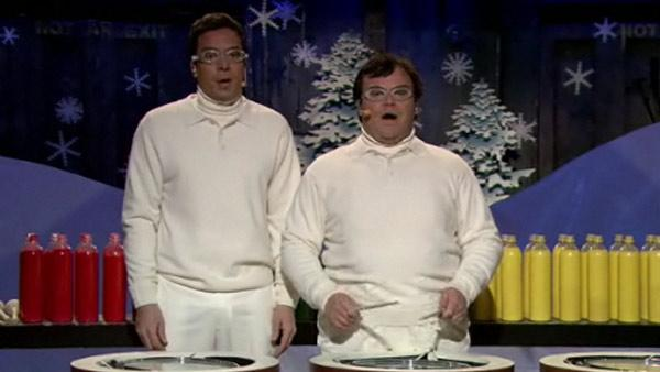 Jack Black and Jimmy Fallon appear on Late Night With Jimmy Fallon on Dec. 21, 2010. - Provided courtesy of NBC