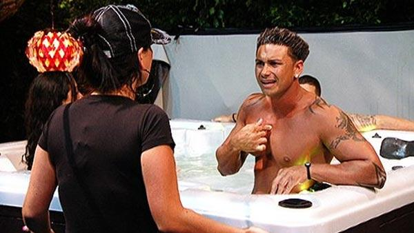 Pauly D and Jenni Farley appear in a scene from Jersey Shore in a 2010 episode. - Provided courtesy of MTV