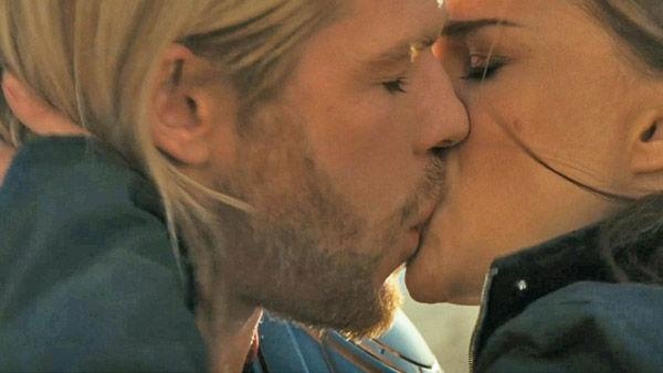 Chris Hemsworth as 'Thor' kisses Natalie Portman as 'Jane Foster' in a scene from the 2011  film, 'Thor'.