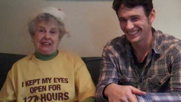 James Franco and his grandmother appear in a video posted on FunnyOrDie in December 2010. - Provided courtesy of FunnyOrDie.com