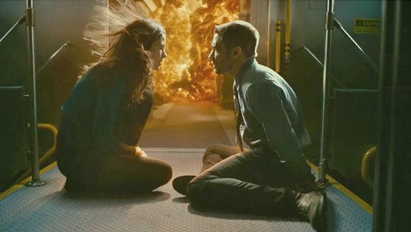 Michelle Monaghan as 'Christina' and Jake Gyllenhaal as 'Colter Stevens' in a scene from the 2011  film, 'Source Code.'