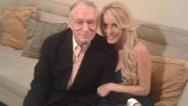 Hugh Hefner and Crystal Harris appear in a photo posted on his Twitter page in June 2010.