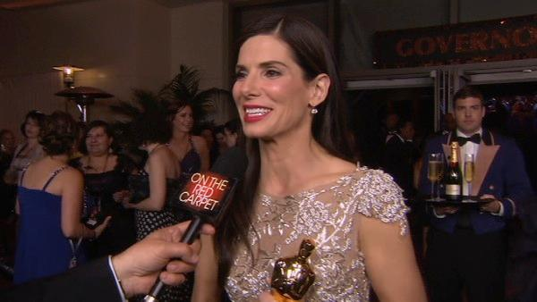 After winning her Best Actress Oscar Sandra Bullock stopped to talk with George Pennacchio at the Governors Ball. - Provided courtesy of KABC