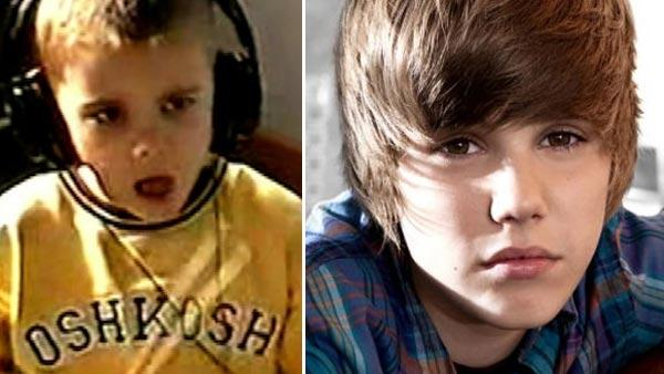 Justin Bieber is seen playing drums as a kid in Never Say Never, a film about teen stars life. / Justin Bieber on the cover of his song One Time.