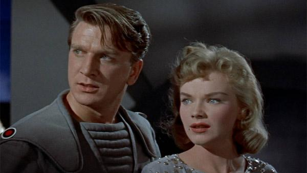 An(Pictured: Anne Francis and the late Leslie Nielsen in a scene from the film, 'Forbidden Planet.')