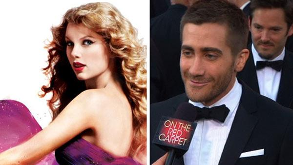 Taylor Swift on the cover of her album, Speak Now.  / Actor Jake Gyllenhaal walks the red carpet before the 82nd Academy Awards. - Provided courtesy of Big Machine Records / KABC