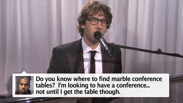 Josh Groban in a still from his January 3, 2011 appreance on Jimmy Kimmel Live in a parody of Kanye Wests Tweets. - Provided courtesy of ABC