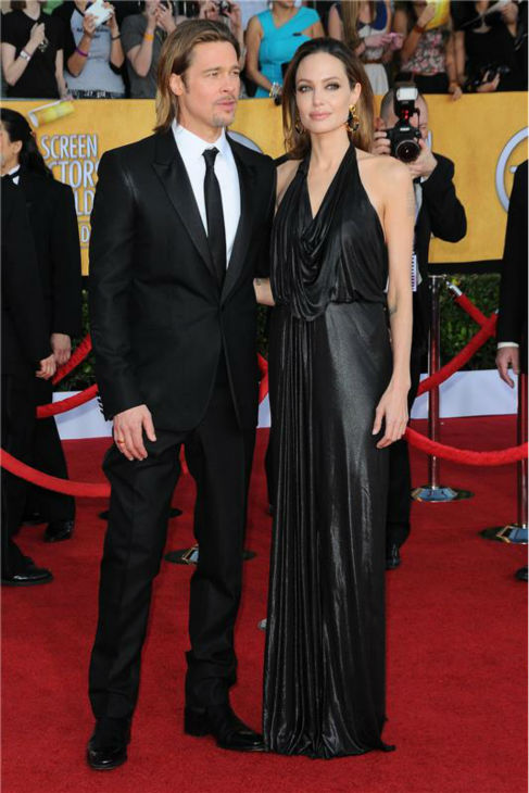 Angelina Jolie and Brad Pitt attend the 2012 Screen Actors Guild &#40;SAG&#41; Awards in Los Angeles on Jan. 29, 2012. <span class=meta>(Kyle Rover &#47; Startraksphoto.com)</span>