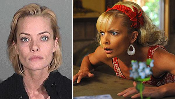 Jaime Pressly appears in a mug shot taken on Jan. 5, 2011 after her arrest on suspicion of DUI in Santa Monica, California. / Jaime Pressly appears in a scene from the comedy series, 'My Name is Earl.'