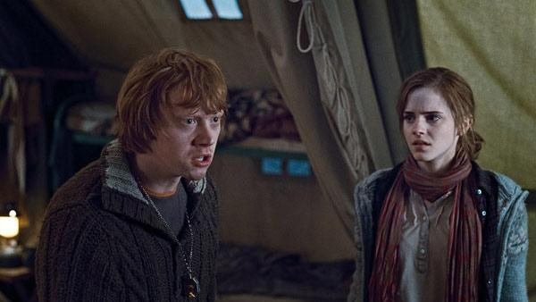 Rupert Grint (Ron Weasley) and Emma Watson (Hermione Granger) appear in a scene from Harry Potter and the Deathly Hallows. - Provided courtesy of Warner Bros.
