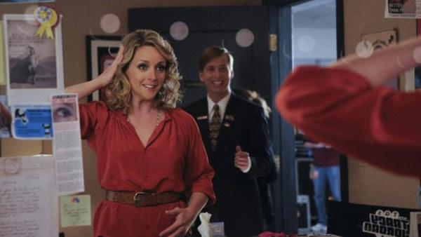 Jane Krakowski and Jack McBrayer appear in a scene from 30 Rock in 2009. - Provided courtesy of NBC