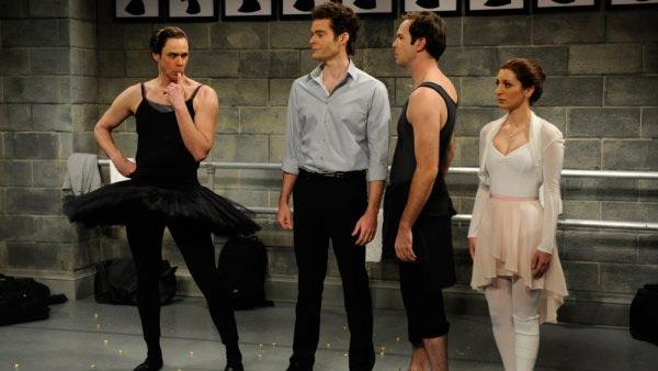 Jim Carrey, Bill Hader, Taran Killam, Nasom Pedrad in a January 2011 Black Swan skit for Saturday Night Live. - Provided courtesy of NBC / Dana Edelson