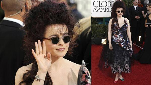Helena Bonham Carter arrives at the Golden Globe Awards Sunday, Jan. 16, 2011, in Beverly Hills, Calif. - Provided courtesy of AP / Matt Sayles