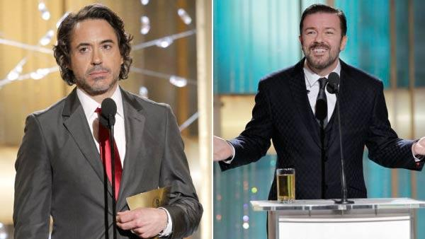 Left: Robert Downey Jr. Right: Ricky Gervais at the Golden Globe Awards Sunday, Jan. 16, 2011, in Beverly Hills, Calif. - Provided courtesy of NBC