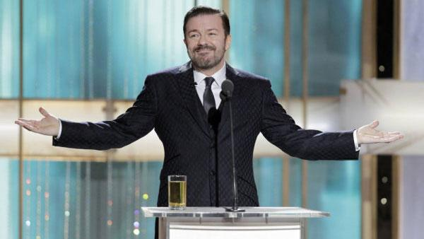 Ricky Gervais in a photo from the 2011 Golden Globes on Jan. 16, 2011. - Provided courtesy of NBC