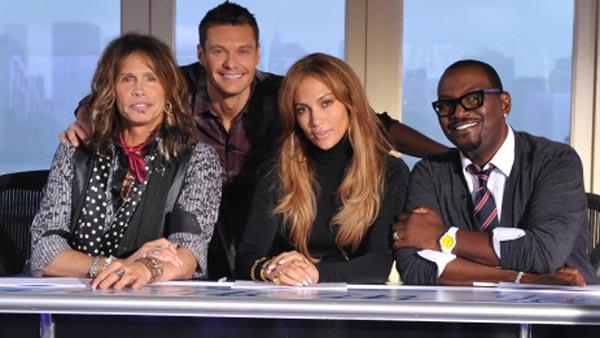 Steven Tyler of Aerosmith, Jennifer Lopez, Randy Jackson and Ryan Seacrest appear in a promotional photo for American Idol. - Provided courtesy of FOX / Michael Becker