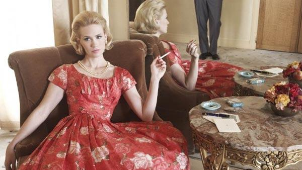January Jones and 'Saturday Night Live' actor and writer Jason Sudeikis were reported in January 2011 to have broken up after dating since at least July 2010. (Pictured: January Jones in a scene from the AMC series 'Mad Men.')
