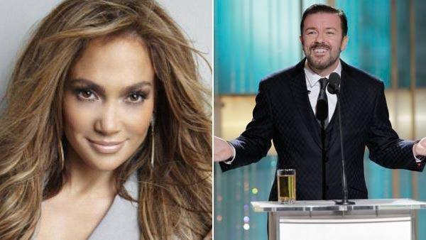 Left: Jennifer Lopez appears in a promotional photo for American Idol. Right: Ricky Gervais in a photo from the 2011 Golden Globes on Jan. 16, 2011. - Provided courtesy of Tony Duran / FOX / NBC