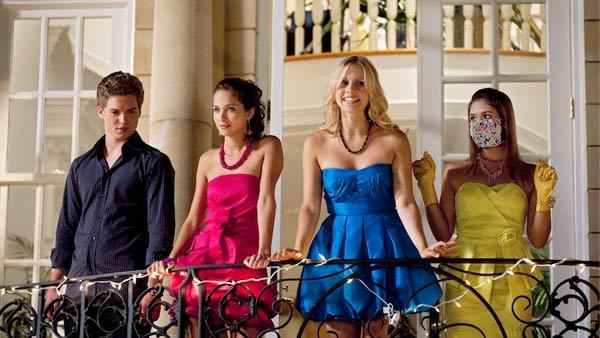 Patrick Johnson, Maiara Walsh, Claire Holt and Nicole Gale Anderson in a scene from Mean Girls 2. - Provided courtesy of ABC Family