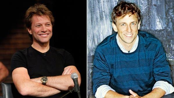 Left: Jon Bon Jovi in a photo from the Nov., 16. 2009 episode of Inside The Actors Studio Right: Seth Meyers in a 2007 promotional photo of him on the Saturday Night Live set. - Provided courtesy of NBC Universal / Mary Ellen Matthews