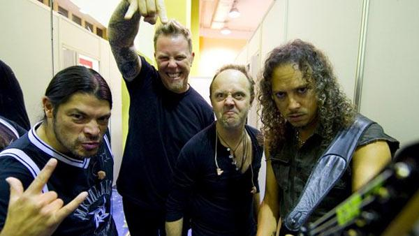 Metallica band members are seen in this photo posted on the bands Facebook page on Jan. 18, 2011. The group will perform a Big 4 show with Anthrax, Megadeth and Slater on April 23, 2011 at the Empire Polo Field in Indio, California. - Provided courtesy of facebook.com/Metallica