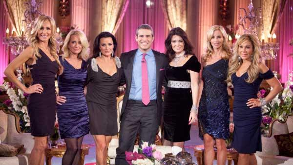 Taylor Armstrong, Kim Richards, Kyle Richards, Andy Cohen, Lisa VanderPump, Camille Grammer, Adrienne Maloof  appear at the Real Housewives of Beverly Hills reunion special. - Provided courtesy of Isabella Vosmikova/Bravo