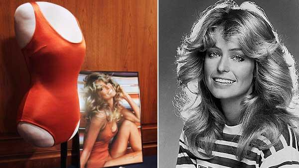 Left: Objects from the private collection of Farrah Fawcetts estate, including the red swimsuit from her iconic 1976 poster Right: Actress Farrah Fawcett-Majors is shown, Jan. 1977. - Provided courtesy of AP / Jacquelyn Martin