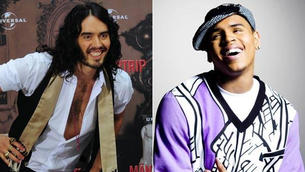 Russell Brand in a still from Get Him To The Greek in 2010 and Chris Brown in a promotional still from his official website. - Provided courtesy of Universal / ChrisBrownWorld.com
