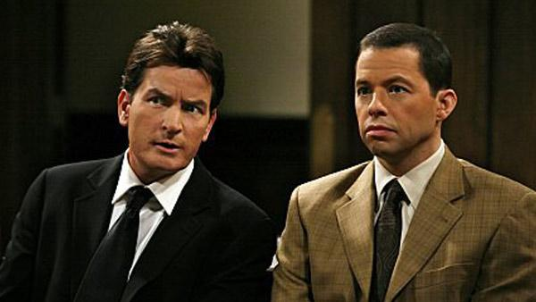 Charlie Sheen and Jon Cryer in a still from Two and a Half Men. - Provided courtesy of Photo courtesy of CBS