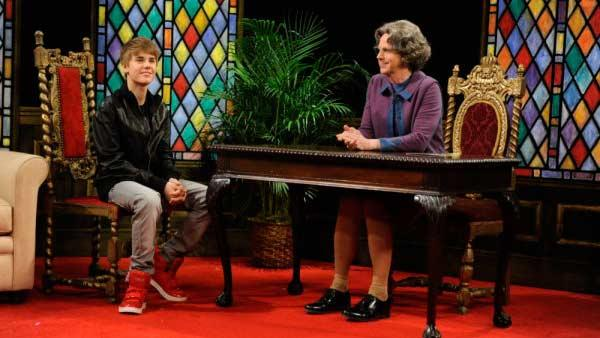 Justin Bieber and Dana Carvey appear in the Church Chat skit during the Feb. 5, 2011 episode of Saturday Night Live. - Provided courtesy of NBC