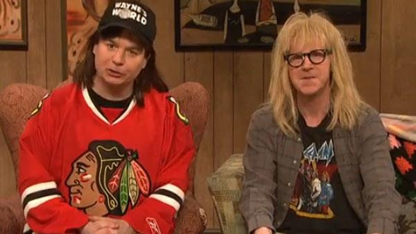 Dana Carvey and Mike Myers appear on Saturday Night Live as Wayne and Garth in Waynes World on Feb. 5, 2011. - Provided courtesy of NBC / Lorne Michaels Productions