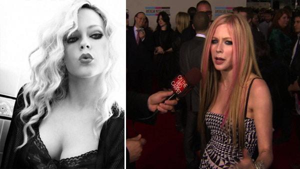 Avril Lavigne appears in a photo published in Vanity Fair Italy in February 2011. / Avril Lavigne speaks to OnTheRedCarpet.com at the 2010 American Music Awards in Los Angeles. - Provided courtesy of OTRC / Vanity Fair / Mark Liddell