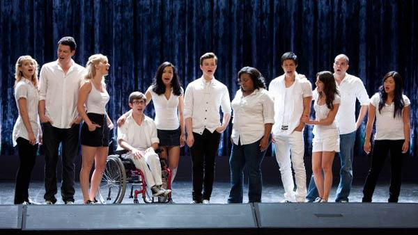 Pictured L-R: Dianna Agron, Cory Monteith, Heather Morris, Kevin McHale, Naya Rivera, Chris Colfer, Amber Riley, Harry Shum Jr., Lea Michele, Mark Salling and Jenna Ushkowitz in the Grilled Cheesus 2010 episode of Glee. - Provided courtesy of Adam Rose/FOX