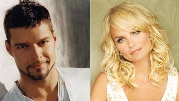 Ricky Martin in a promotional photo from his official MySpace page. / Kristen Chenoweth appears in a photo posted on her website. - Provided courtesy of Ricky Martins official MySpace page / kristin-chenoweth.com