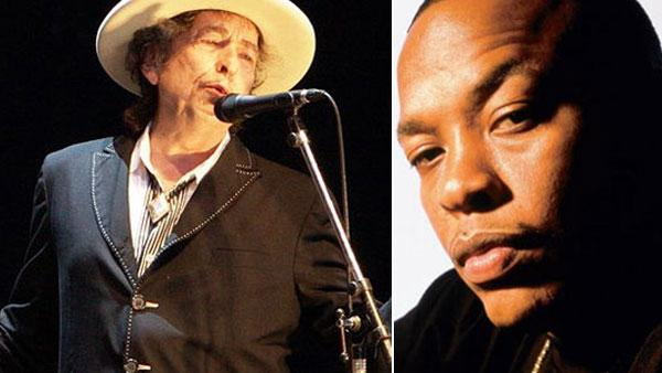 Bob Dylan appears at the 2010 Azkena Rock Festival in Spain in June 2010. / Dr. Dre is pictured in an undated photo posted on his MySpace page. - Provided courtesy of flickr.com/photos/denaflows / myspace.com/drdre