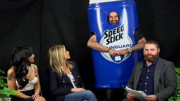 Tila Tequila, Jennifer Aniston, Brody Stevens and Zach Galifianakis appear on Between Two Ferns online talk show in February 2011. - Provided courtesy of FunnyOrDie.com