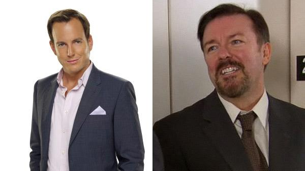 Will Arnett appears in a promotional photo for the FOX show Running Wilde. / Ricky Gervais appears on The Office on a Jan. 27, 2011 episode. - Provided courtesy of FOX / NBC