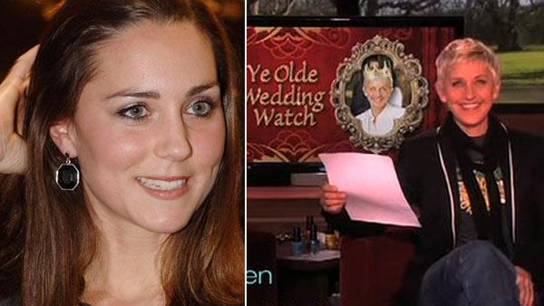 This Dec. 15, 2006 photo shows Kate Middleton, who is to marry Britains Prince William in 2011, according to an announcement by Clarence House in London, Tuesday Nov. 16, 2010. / Ellen DeGeneres appears on her talk show on Feb. 10, 2011. - Provided courtesy of Fiona Hanson, PA / Warner Bros.