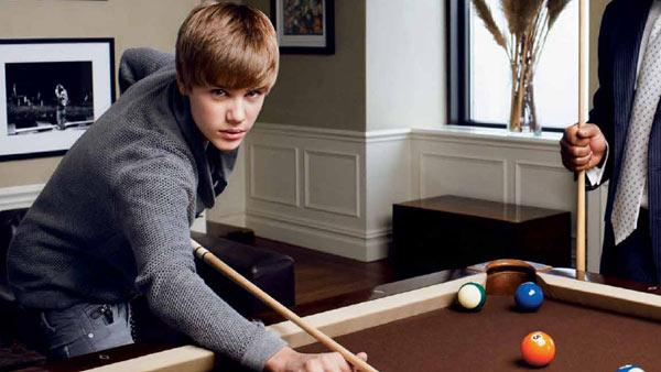 Justin Bieber plays pool in a photo published in The Hollywood Reporter in February 2011. - Provided courtesy of Wesley Mann / The Hollywood Reporter