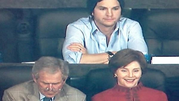Ashton Kutcher, George and Laura Bush pictured at Super Bowl XLV on Sunday, February 6. - Provided courtesy of Photo provided by YouTube