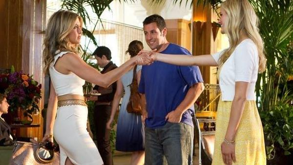 Jennifer Aniston, Adam Sandler and Brooklyn Decker in a still from their 2011 film, Just Go with It. - Provided courtesy of Columbia Pictures
