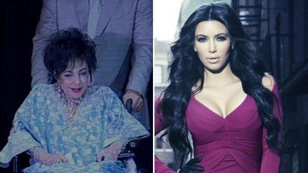 Elizabeth Taylor appears in a wheelchair before undergoing heart surgery in 2009/Kim Kardashian in publicity photo for Kim and Kourtney Take Manhattan. - Provided courtesy of ABC7/Photo courtesey of Kim Kardashians official website, KimKardashian.Celebuzz.com