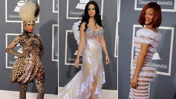 Nicki Minaj, Katy Perry and Rihanna arrives at the 53rd annual Grammy Awards on Sunday, Feb. 13, 2011, in Los Angeles. - Provided courtesy of AP