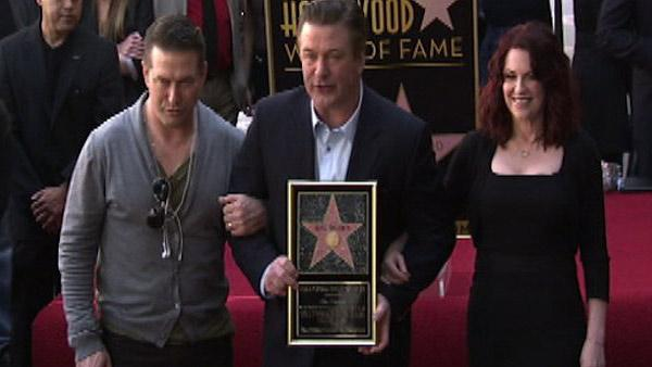 Alec Baldwin receives a star on Hollywoods Walk of Fame on Feb. 14, 2011. He was joined by his actor-brother Billy and actress Megan Mullally.