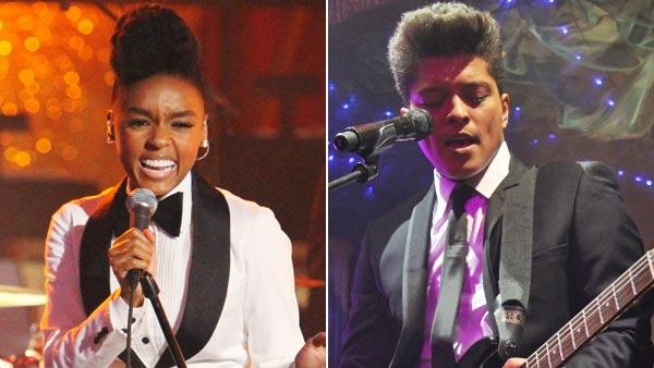 Left: Singer Janelle Monae performed on Dancing With the Stars: The Results Show, Tuesday, Sept. 28, 2010. Right: Bruno Mars performing at the Cafe De Paris in London on January 11, 2011. - Provided courtesy of ABC / Brunomars.com.