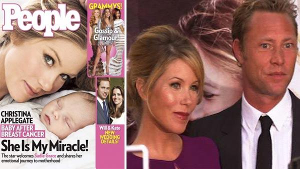 (Pictured: Christina Applegate and Sadie on the cover of People magazine in February 2011. / Christina Applegate and fiance Martyn Lenoble appear at the red carpet premiere for 'Going The Distance' on Aug. 23, 2010.)
