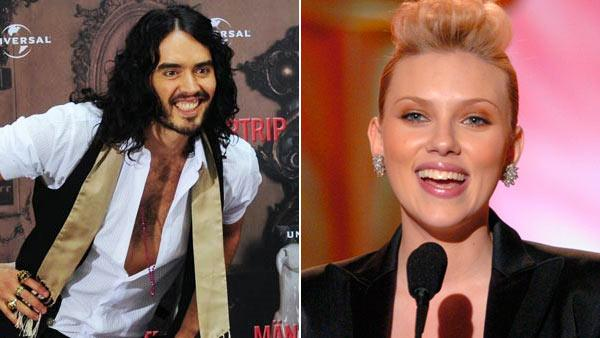Left: Scarlett Johansson at the Academy of Motion Picture Arts and Sciences Scientific and Technical Achievement Awards on Saturday, February 12, 2005, in Pasadena, California. Right: Russell Brand in a still from Get Him To The Greek in 2010. - Provided courtesy of AMPAS / Universal