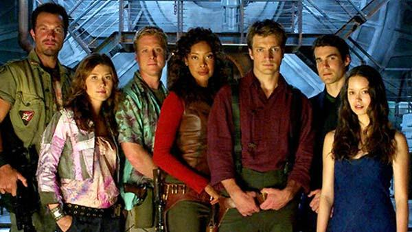 Adam Baldwin, Jewel Staite, Alan Tudyk,  Gina Torres, Nathan Fillion, Sean Maher and Summer Glau in a promotional photo from the 2005 film, Serenity. - Provided courtesy of Photo courtesy of Universal Pictures
